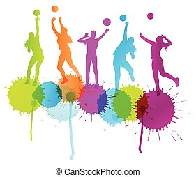 Volleyball woman player vector background concept with color...