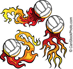 Volleyballs with Flames Vector Imag