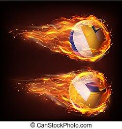 volleyboll, stjärnfall, låga, eld, klumpa ihop sig, flygning
