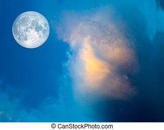 vollmond, gelber , wolke, in, der, blauer himmel