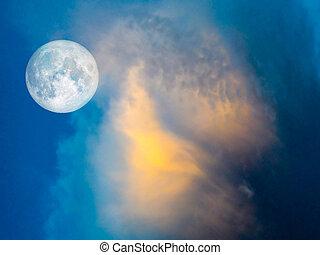 vollmond, gold, wolke, in, der, blauer himmel