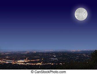 vollmond, in, der, nacht himmel