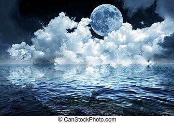 vollmond, in, nacht himmel, aus, der, wasserlandschaft, zurückwerfend, in, wasser