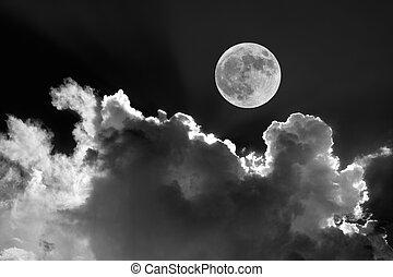 vollmond, in, nacht himmel, mit, träumerisch, mondbeschienen, wolkenhimmel