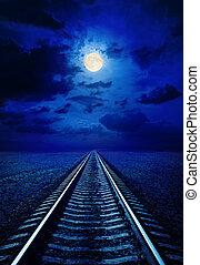 vollmond, in, nacht himmel, mit, wolkenhimmel, aus, eisenbahn, in, wüste