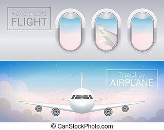 volo, turista, banner., sicuro, nubi, finestra, aeroplano, sky., attraverso