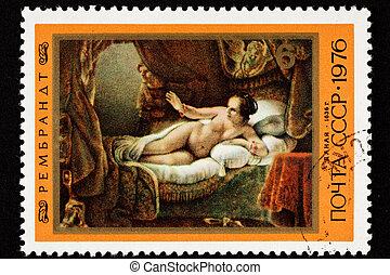 volontà, dare benvenuto, lei, dipinto, gold., perseus, doccia, dana?, attraverso, impregnare, zeus, rembrandt.