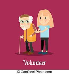 volontär, flicka, bry för, äldre bemanna