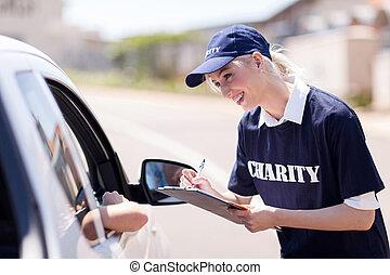 volontär, lyftande pengar, för, välgörenhet