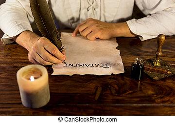 volonté, sien, a écrit, homme