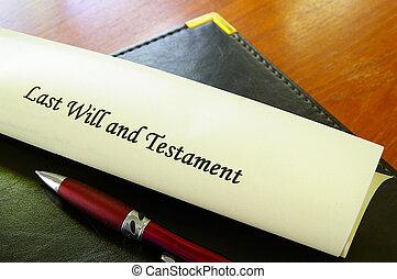 volonté, testament, document, dernier, bureau