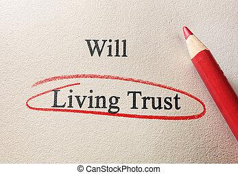 volonté, vivant, confiance, ou