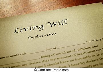 volonté, vivant, document, macro