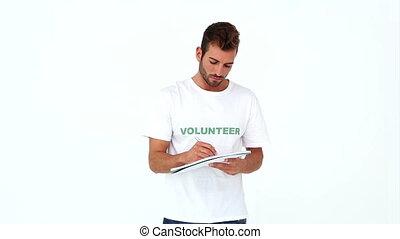 volontaire, écriture, beau, note