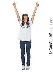 volontaire, élévation, elle, tshirt, bras, femme, porter