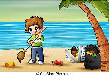 volontaire, déchets ménagers, nettoyage, plage, homme