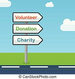 volontaire, direction, concept, résumé, signes