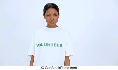 volontaire, elle, armes traversés, femme