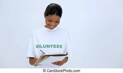 volontaire, femme pensée, writting