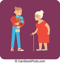 volontaire, femme, vieil homme