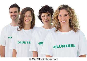 volontaire, gens, tshirt, quatre, porter