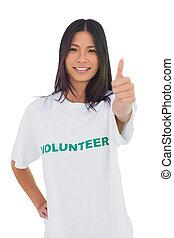 volontaire, pouce, gai, haut, femme
