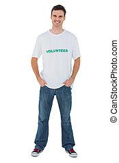 volontaire, séduisant, tshirt, homme, porter