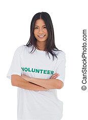 volontaire, tshirt, armes traversés, femme, porter