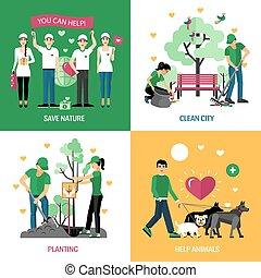 volontaires, 2x2, conception, concept