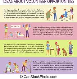 volontaires, conception, plat, caractères