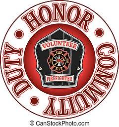 volontario, onore, pompiere, dovere