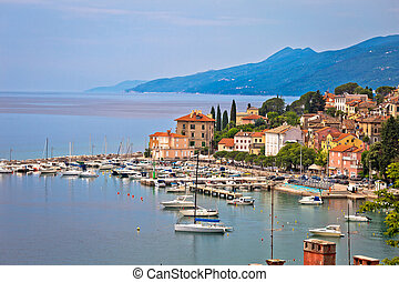 Volosko and Opatija waterfront view, Kvarner bay of Croatia