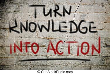 volta, conhecimento, em, ação, conceito