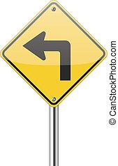 volta, esquerda, sinal tráfego
