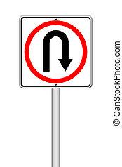 volta, estrada traseira, sinal