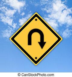 volta, estrada traseira, sinal, ligado, bonito, céu,...