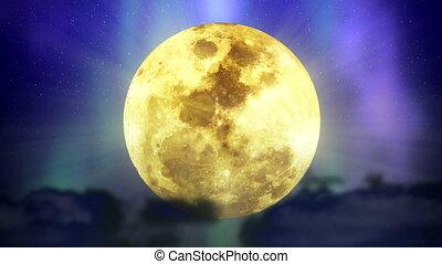 volta, lua, em, espaço, com, estrelas