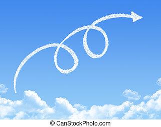 volta, seta, dado forma, nuvem