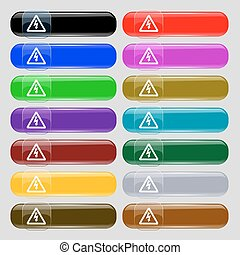 voltage icon sign. Set from fourteen multi-colored glass buttons with place for text. Vector