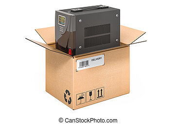 Voltage stabilizer inside cardboard box, delivery concept. 3D rendering isolated on white background