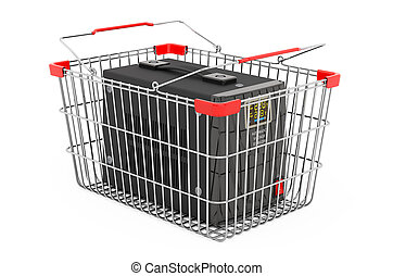 Voltage stabilizer inside shopping basket, 3D rendering isolated on white background