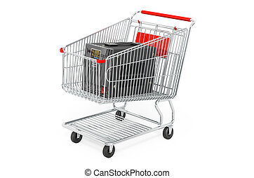 Voltage stabilizer inside shopping cart, 3D rendering isolated on white background