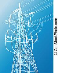 voltagem alta, poder forra, e, pylon, vetorial, fundo