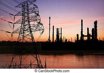 voltagem alta, pose, com, petrochemical, refinaria óleo,...