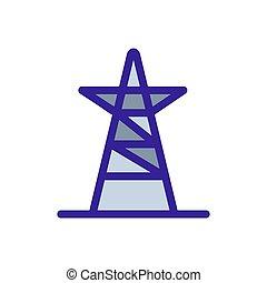 voltagem, contorno, alto, vector., ilustração, símbolo, torre, isolado, ícone