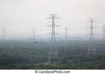 voltagem, elétrico, torre, alto