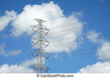 voltagem, torre, elétrico, alto