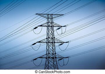 voltagem, torres, alto