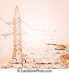 voltaje, líneas, alto, wall., encima, potencia