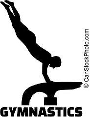 volteggio, ginnastica, tavola, parola, esercizio, uomo
